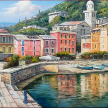 Big Italian painting Portofino seascape Ligurian Coast Italy original oil on canvas of Ernesto Di Michele