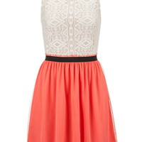 Ethnic Print Lace Top Dress With Exposed Zipper - Calypso Coral