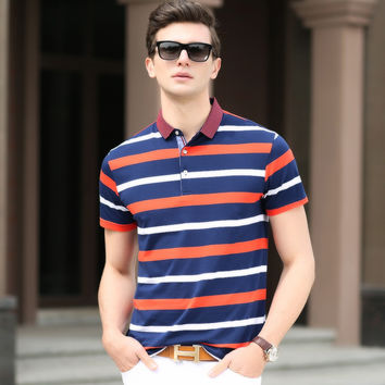 Summer Men Pullover Cotton Casual Short Sleeve Stripes Tops T-shirts [6543956803]