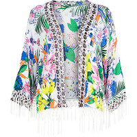 River Island Womens White floral print fringed cape cover up