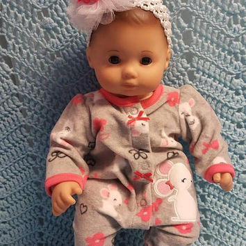 "15 inch Baby doll outfit ""Quiet as a Mouse"" Will fit Bitty Baby® Bitty Twins®  dress leggings socks headband fleece O3"