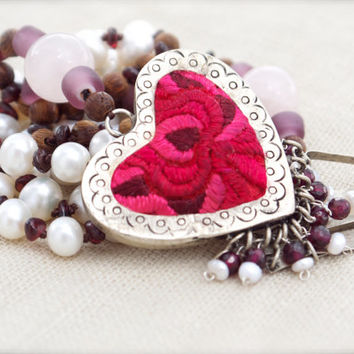 Tribal pink red heart pendant Mala inspired Prayer bead Folk art Rose quartz Freshwater Pearls Romantic Silk embroidery locket Garnet Ethnic