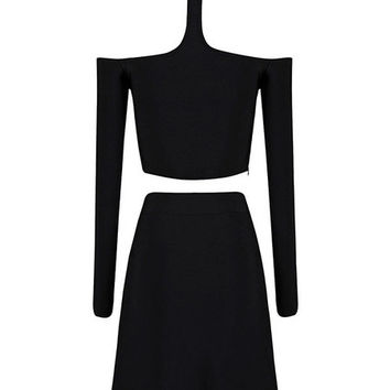 Black and White Asymmetric Choker Designed Dress