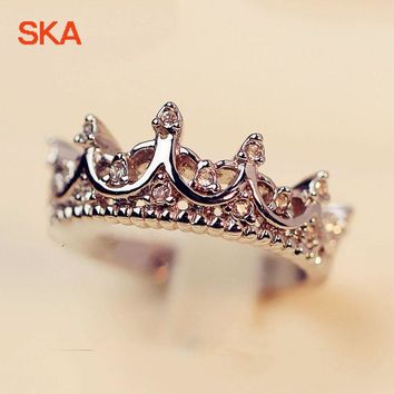 SKA Women's Wedding Ring Princess Crown Rings For Women AAA Cubic Zirconia Personality Engagement Finger Jewelry R040