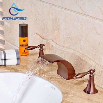 Bathroom Basin Faucet Oil Rubbed Bronze Deck Mounted Solid Brass Waterfall Tub Spout Taps Dual Handles