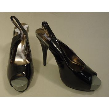 Steve Madden Open Toe Slingback Stiletto Man Made Female Adult 8.5 Black/Gray Solid/Shinny 17-211sm -- New with Tags