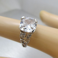 Sterling Silver CZ Engagement Ring, Cushion Cut Cubic Zirconia, Cocktail Statement Designer Ring , Size 7, Bridal Cubic Zirconia Jewelry
