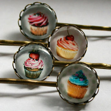 Cup Cake Bobby Pins - Set of 4