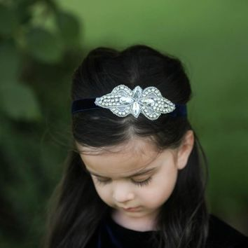 Navy Blue Vivienne Velvet Elastic Crystal Jewel Headband
