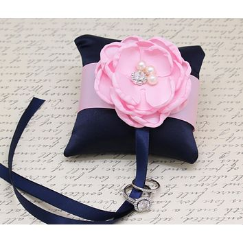 Navy Blue Pink Ring Pillow attach to dog Collar, Ring Bearer, wedding accessory