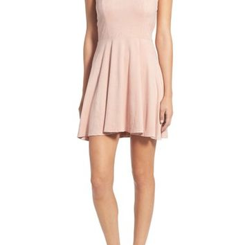 Socialite Cross Back Faux Suede Skater Dress | Nordstrom