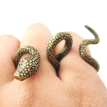 Realistic Snake Shaped Double Duo Finger Adjustable Ring in Brass | Animal Jewelry