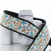 Camera Strap, Seashells, dSLR, Beach, Blue, Ocean, SLR, Mirrorless, Photography, Neck Strap, Aqua, Nikon, Canon, Sony, Pentax,  94 a