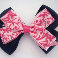 Navy Blue and Pink Damask Hair Bow