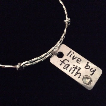 Live By Faith Silver Expandable Charm Bracelet Adjustable Bangle Inspirational