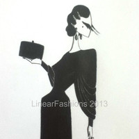 Fashion Illustration Art 1930s Black Evening Gown Original Pencil Drawing