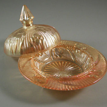 Jeannette Iris, Carnival Glass Butter Dish and Lid