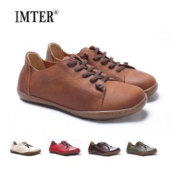 Women Shoes Flat 100% Authentic Leather Plain toe Lace up Ladies Shoes Flats Woman Moc