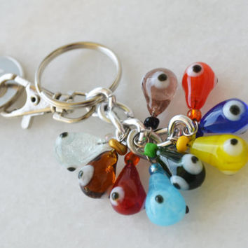 Funny Evil Eye Bag Accesorry Key Chain With Glass Beads, Glass Evil Eye Key Holder - Protection Bead Accessory - Lucky Key Ring Bag Charm
