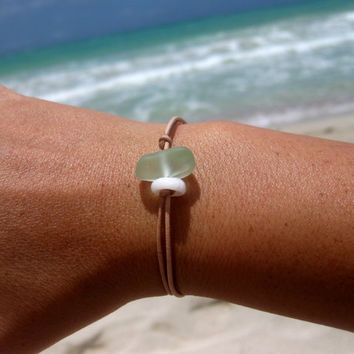 Hawaiian Aqua Blue Beach Glass and Puka Shell on India Leather Cord Completely Adjustable & Stackable Bracelet
