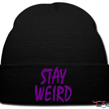 stay weird purple beanie knit hat