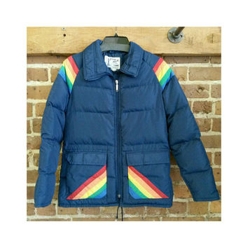 Vintage Rainbow Down Ski Jacket 70s 80s- Prime North ski jacket medium