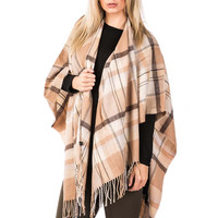 Maddie Checked Blanket Wrap in Tan Brown