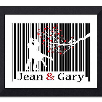 Personalized Couple Barcode Art Secret Message by TheWallaroo
