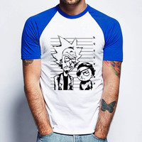 Rick And Morty Short Sleeve Raglan - White Red - White Blue - White Black