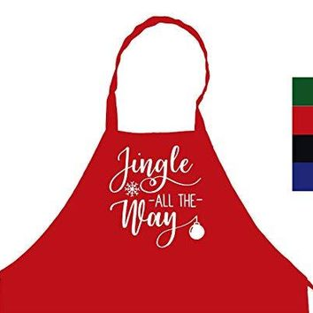 StickerChef Jingle All The Way Christmas Chef's Funny Cooking Apron Kitchen, BBQ Grill, Breathable, Machine Washable