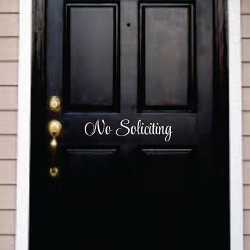 No Soliciting decal - front door decal - vinyl letters for front door - No soliciting vinyl sticker - front door greeting