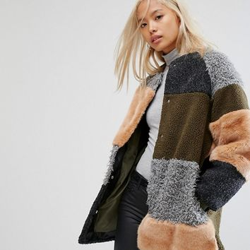 Noisy May Patchwork Faux Fur Teddy Coat at asos.com