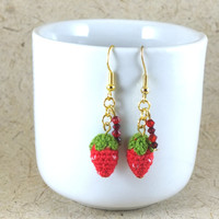 Mini Crochet Strawberries  Dangle Earrings with Crytals