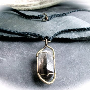 Smoky Quartz Crystal Necklace, Wire Wrap Bronze and Brass Pendant on Black Hemp, Unisex Rustic Druid Necklace, Black Crystal Wicca Shaman