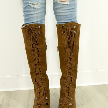 CHINESE LAUNDRY Keepsake Brownstone Split Suede Lace Up Boots