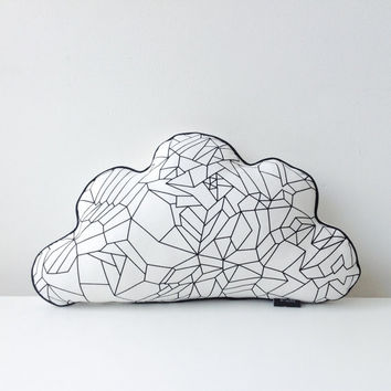 White cloud pillow with black geometric print