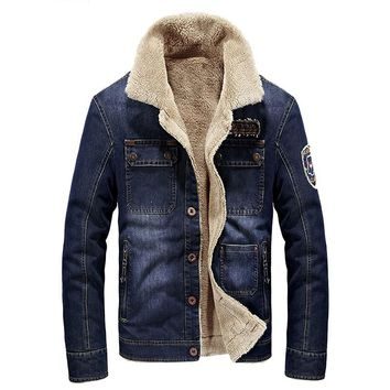 Brand denim jacket men fashion cowboy style jean jacket high quality thicken warm retro denim jacket with fur mens outwear