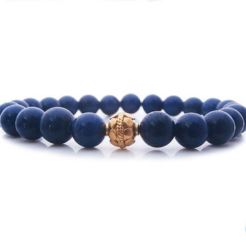 Man's Blue Lapis Lazuli and Genuine 22 Carat Gold Vermeil Bead Bracelet, Men's Lapis Lazuli and Gold Vermeil Bali Bead Stretch Bracelet