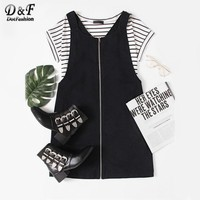 Pocket Front Zip Up Overall Shift Dress Black Pinafore Zip Cute Dress Women V Neck Sleeveless Cotton Short Dress