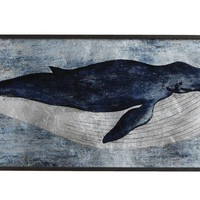 Vintage Humpback Whale Framed Metallic Print on Glass | 47-1/2-in