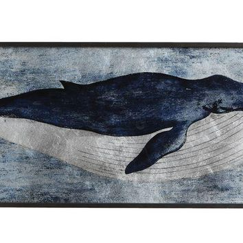 Vintage Humpback Whale Framed Metallic Print on Glass   47-1/2-in