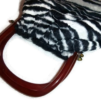 Vintage Faux Zebra Fur Bag 60s Zebra Fashion Statement Purse Hand Bag Amber Applejuice Bakelite Handles Purse 60s Carnaby Street Mod Fashion