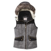 Mossimo Supply Co. Junior's Vest w/ Fur Collar -Black/White
