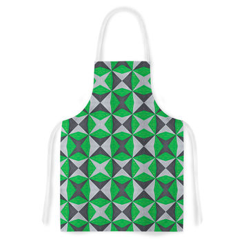 "Empire Ruhl ""Silver and Green Abstract"" Green Black Artistic Apron"