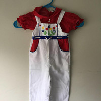 Vintage Toddler 70s Flower Power Over All Two Piece Jumper