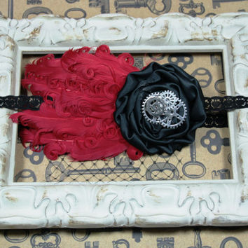 VIntage Inspired Headband, Vintage Style Feather Headband, Red and Black Headband, Steampunk Headband, Photo Prop , 1920s Headband