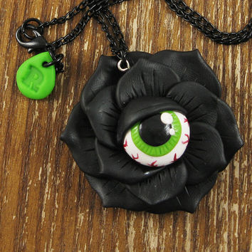 Bloodshot Eyeball Rose Necklace