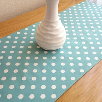 NEW!! Large Polka-Dot Table Runner, Modern Table Runner, Colorful Table Cover, Duck Tablecloth, Cotton Table Runner
