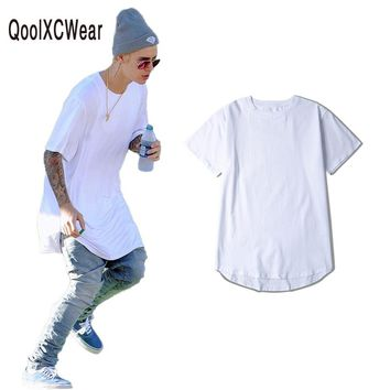 QoolXCWear  t-shirt men extended kanye t-shirt cotton swag mens t shirts skateboard tshirt solid hip hop T shirt men's tees top