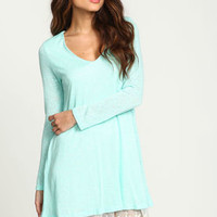 Mint Knit Embroidered Lace Dress - LoveCulture